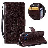 Gurt Brieftasche für Huawei P30 Lite,Braun Handyhülle für Huawei P30 Lite,Moiky Ziemlich Schöne Mandala Sonnenblume Geprägt Klappbar Kartenfächer Stoßdämpfende Ledertasche mit Stand -