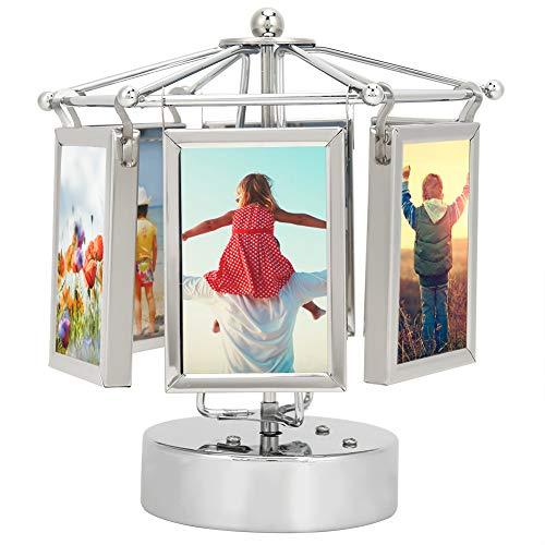 HERCHR Caja de música con Marco de Fotos Giratorio, Marco de Cubo de Fotos para Escritorio, Pantalla de Imagen giratoria, decoración...