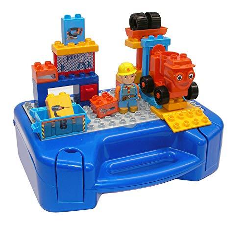 BIG Spielwarenfabrik 800057141 - PlayBIG Bloxx -Bob Budowniczy walizka warsztatowa zestaw do zabawy z walizką do noszenia i dużą płytą klockową, kompatybilny ze znanymi klockami, od 2 lat