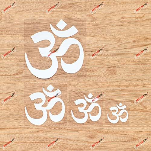 Yoga Om Ohm Symbol India Buddha Vinyl Decal Sticker - 4 Pack White, 2 Inches, 3 Inches, 4 Inches, 6 Inches - No Background for Car Boat Laptop Cup Phone