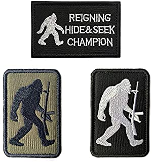 Antrix 3 Pieces Bigfoot Big Foot Reigning Hide and Seek Champion Tactical Military Morale Patch for Caps,Bags,Backpacks,Clothes,Vest,Military Uniforms,Tactical Gears Etc.