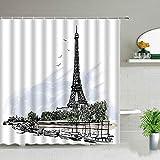 XCBN Retro Paris Street Tower Duschraum Badezimmer Home Decoration wasserdichte Badewanne Dekoration Duschvorhang A10 90x180cm