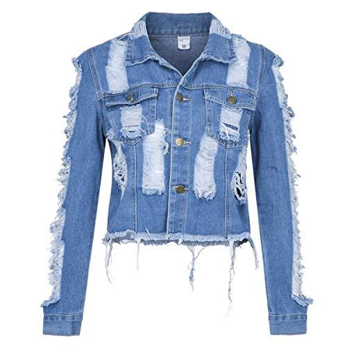 Dames Distressed Denim Jacket Kleding Hole Coat Lange mouw Pocket Button Denim Jacket Jassen Geschikt voor alle gelegenheden Boyfriend Denim Jacket Coat met lange mouwen,XL