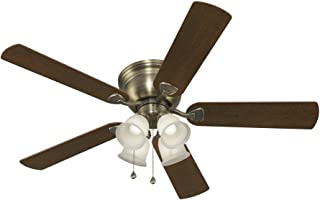 Harbor Breeze Centreville 52 In Antique Brass Indoor Flush Mount Ceiling Fan With Light Kit