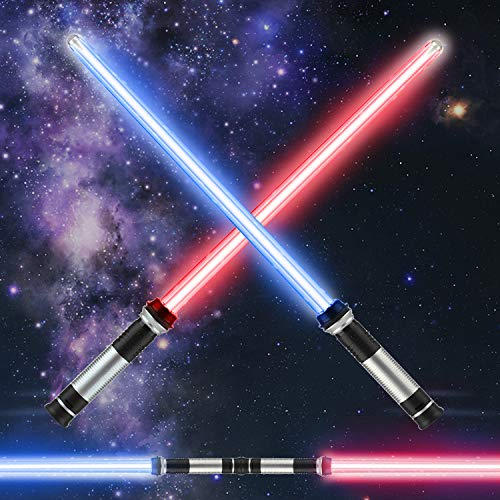 TOY Life Light Sabers for Kids 2 Pack Double Sided Lightsaber Sound FX Lightsaber 2-in-1 Light Up Sword LED Lightaber Toy for Halloween Dress Up Parties, Xmas Present, Galaxy War Fighters and Warriors