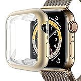 Miimall Kompatibel mit Apple Watch Series 6/SE/5/4 40mm Hülle mit Bildschirmschutz, Matte Farbe All-Aro& Schutzhülle Weiche TPU Superdünne Kratzfest Schutzfolie Schutz Hülle für iWatch 40mm - Matt Gold