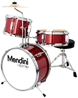Mendini by Cecilio 13 inch 3-Piece Kids/Junior Drum Set with Throne, Cymbal, Pedal & Drumsticks, Metallic Bright Red, MJDS-1-BR