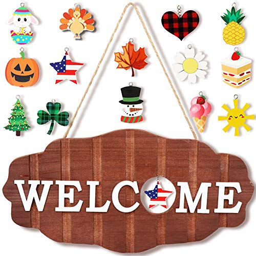 Aytai Interchangeable Seasonal Welcome Sign Front Door Decor Rustic Wood Welcome Signs Wreath for Front Porch Holiday Spring Fall Christmas Summer Easter Home Decorations, 12 x 6in Hanging Porch Decor