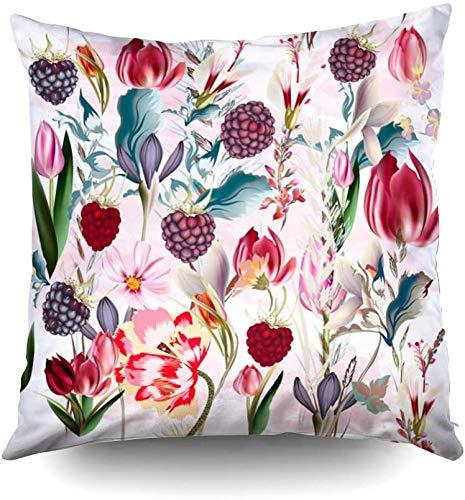 Funda de almohada de 45,7 x 45,7 cm, hermoso patrón floral con flores de primavera, fundas de almohada con cremallera para sofá o sofá