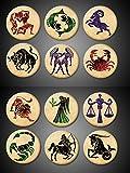 Zodiac Signs Pins Complete set of 12 1.75' round Symbols Aquarius Pisces Aries Taurus Gemini Cancer Leo Virgo Libra Scorpio Sagittarius Capricorn Pinbacks