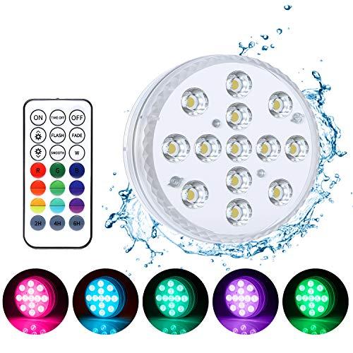 Zenoplige Unterwasser Licht,IP68 Unterwasserlicht mit 13 LEDs, Magnetisch Wasserdichtes Licht mit Fernbedienung RGB Poolbeleuchtung für Vase Pool Badewanne Fisch Tank Festival Dekoration