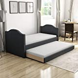 Boyd Sleep Umbria Upholstered Platform Daybed and Pull Out Guest Trundle Bed Frame Mattress Foundation with Strong Wood Slat Supports: Faux Leather, Black, Twin