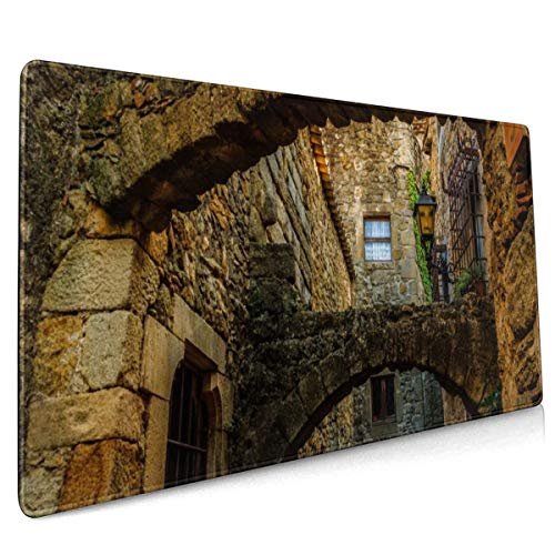 Bouwen Arch Rock Stone Huis Window Mouse Pad Niet Slip Rubber Grote Gaming Keyboard Mat 15.8x35.5 In