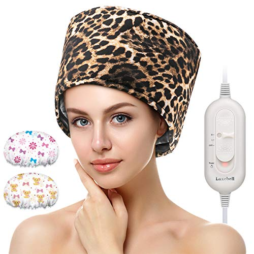 Hair Steamer Deep Conditioning Heat Cap Adjustable Hair Care Heating Cap with Intelligent Protection, Sturdy Material, and 2 Reusable Shower Caps, Gifts for Women (Leopard)