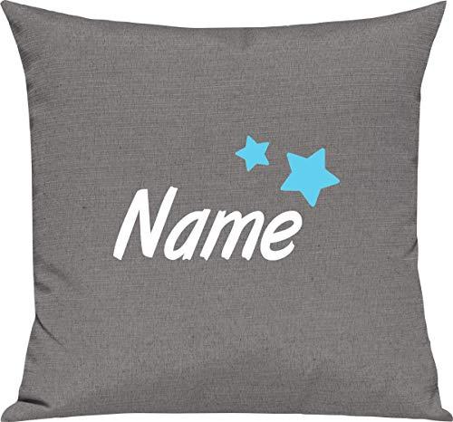 Kleckerliese Kinder Kissen Dekokissen Kissenbezug Kissenhülle 40x40 cm Motiv Name Wunschname Sterne, Farbe Grau