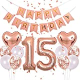 Sweet 15th Birthday Decorations Banner Balloon 40inch Rose Gold Number 15 Foil Balloons Rose Gold Heart Confetti Balloons for 16th Birthday Party Anniversary Events Decorations and Graduation Decorations