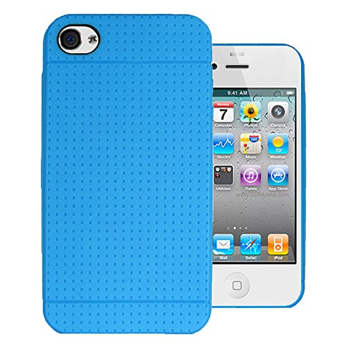 Heartly Retro Dotted Design Soft TPU Matte Bumper Back Case Cover for Apple iPhone 4 4S 4G - Blue