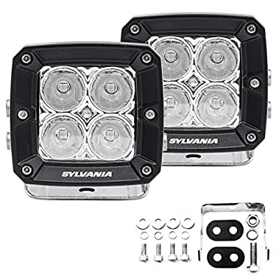 SYLVANIA - Ultra 3 Inch Cube LED Light Pod - Lifetime Limited Warranty - Spot Light 2360 Raw Lumens, Best Quality Off Road Driving Work Light, Truck, Car, Boat, ATV, UTV, SUV, 4x4 (2 PC)