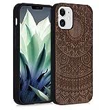 kwmobile Cover Compatibile con Apple iPhone 12 Mini - Hard-Case in Legno con Bumper TPU - Sole Indiano Marrone Scuro