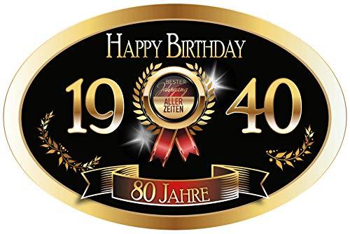 """""""Bester Jahrgang - 80 Jahre - Happy Birthday"""" 1940 der beste Jahrgang aller Zeiten Aufkleber"""