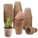 qipuneky, 80 Pezzi - 8cm, Vasi Biodegradabili, Rotondi Vasetti Biodegradabili, per Semina, per Germinazione Della Piantina, per Giardino