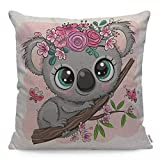 Wozukia Cute Cartoon Koala Throw Pillow Cover with Flowers on A Tree on A Pink Background Fashion Square Pillow Case Cushion Cover for Men Women Girls Boys Home Car Decorative Cotton Linen 18x18 Inch