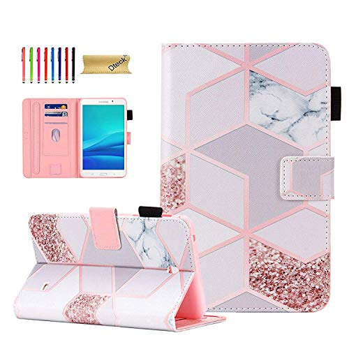 Dteck Galaxy Tab 4 7.0 Inch Case T230 T231 T235, Slim PU Leather Folio Flip Kickstand Protective Colorful Pattern Case Cover for Samsung Tab 4 7-inch SM- T230nu T235 /Nook 7.0 Tablet, Grid Marble