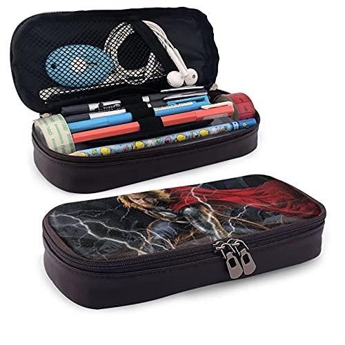 Thor - Estuche de piel para lápices y artículos de papelería para oficina, portátil, caja de almacenamiento para cosméticos