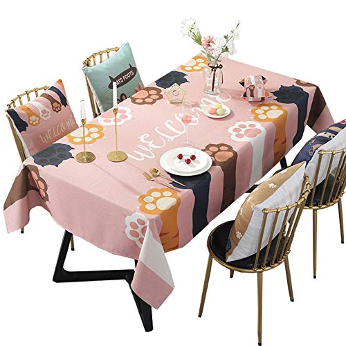 Algodón Mantel,Patrón Decoración Impermeable,Resistente Al Calor Lavable Alta Calidad Manteles,Para Kitchen Picnic Camping-D 140 x 220cm