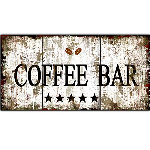 Original Retro Design 5 Stars Coffee Bar Tin Metal Signs Wall Art | Thick Tinplate Print Poster Wall Decoration for Cafe/Kitchen/Coffee Corner/Coffee Pot