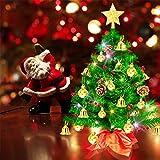 Weihnachtsbaum klein 50cm, künstlicher Christbaum mit bunter batteriebetriebener Lichterkette, Baumspitze, Kugeln, Schelle, Beeren, Kiefernzapfe, Weihnachtsdeko, Mini Tannenbaum für Tisch, Büro - 9