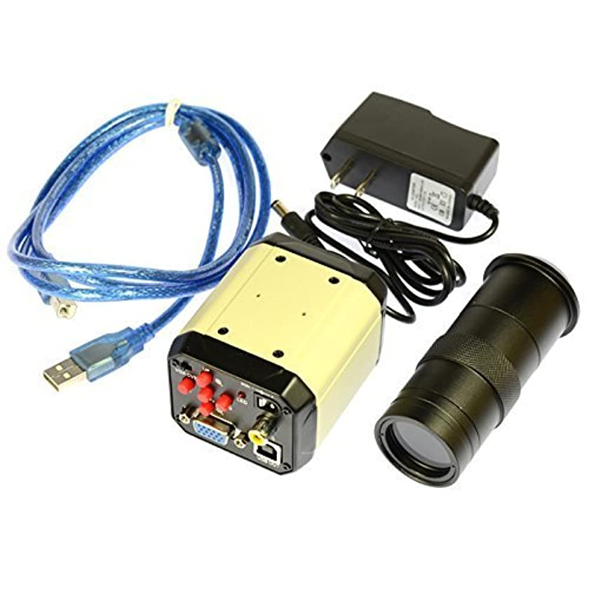 2.0MP HD Digital Industrial Lab Microscope Camera VGA USB AV TV Output 100X Zoom C-Mount Lens