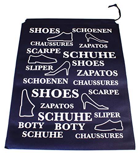 3er Set Schuhbeutel Schuhreisetasche Schuhtasche Nylon Beutel Schuhe jeder Art Kinder und Erwachsene Kofferschuhsack zum Schutz der Schuhe auf Reise Wasser abweisend EINWEG -verpackt (Blau/Weiß 3)
