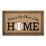 FXGZHAO Welcome Mat with Rubber Back 30'(L) x 18'(W) Funny Doormat for Entrance Way Monogram Mats for Front Door Mat No Slip Kitchen Rugs and Mats (There's No Place Like Home Baseball Home Plate)