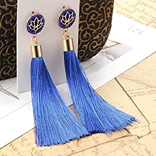 Earrings Bohemian Long Tassel Vintage Statement Drop Earrings for Women(Blue) Earrings (Color : Light blue)