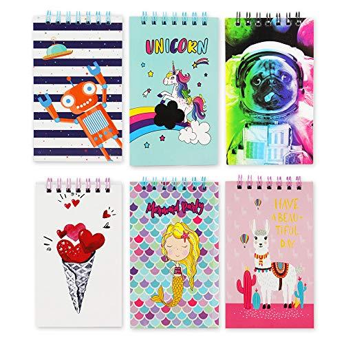 CL0611 - Mini libretas con diseños alpaca, robot, perrito, sirena, unicornio, corazon, 6 unidades, 60 hojas blancas, tamaño 7,5x12,5cm