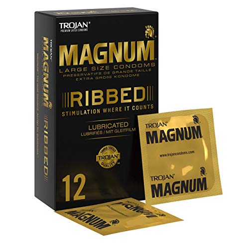 Trojan Magnum Large Ribbed and Lubricated Condoms with Premium Quality...