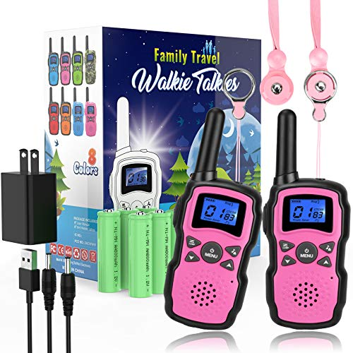 Wishouse 2 Rechargeable Walkie Talkies for Kids with Charger 2X3000mAh Battery,Family Walky Talky for Adult Cruise Ship Long Range,Outdoor Camping Hiking Fun Toy Birthday Xmas Gift for Girls Pink