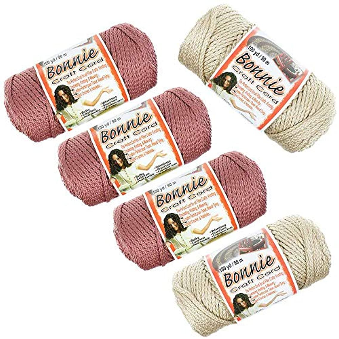 Craft County - Bonnie Macramé Cord - 5 Pack - 4mm - 100 Yard Length - Variety of Colors