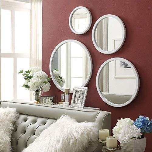 JKCKHA Cuarto de baño Espejo de baño, Moderna Minimalista de Madera Espejo de baño Frontera - Ronda de Cristal Decorativo Espejo Colgante (Color: Negro, tamaño: 30 * 30 cm)