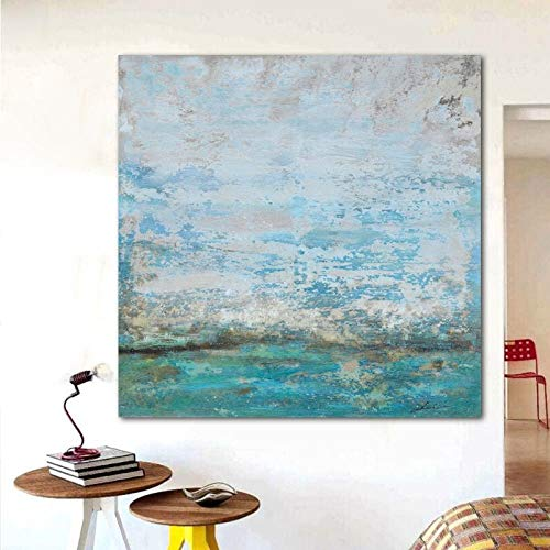 CCMANOR Original Handgemalte Leinwand,Sommer Blau Acrylbild Abstrakt Wall Art Handgefertigte Ölgemälde Home Wohnzimmer Dekoration, 90 × 90 cm Rahmenlos