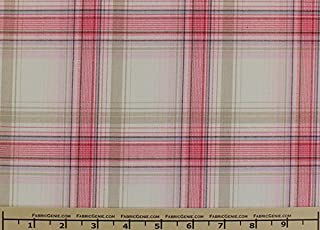 Huntly Plaid Plaid Suiting Fabric, Stretch Suiting Fabric-PINK