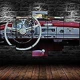 VYQDTNR 5 Piezas Lienzo Arte De La Pared DecoracióN Mercedes Vintage Classic Coche Interior Lienzo Pintura ImáGenes ImpresióN Cocina Moderna Hogar SalóN Comedor DecoracióN, Sin Marco