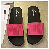 ZHIZI Chanclas Zapatillas de Plataforma de Las señoras Strap de Tela elástica Alta EVA Zapatillas de cuña de Punta Abierta (Color : Red Heel 1.9 Inches, Size : 41)