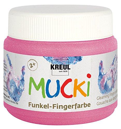 Kreul 23120 - Mucki schimmernde Funkel - Fingerfarbe auf Wasserbasis, parabenfrei, glutenfrei, laktosefrei und vegan, auswaschbar, vermalbar mit Pinsel und Fingern, 150 ml Dose, Feenstaub rosa
