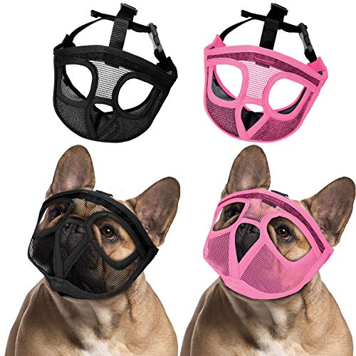 Weewooday 2 Pieces Bulldog Muzzle Dog Short Snout Mesh Mask French American Short Nose Adjustable Breathable Barking Biting Chewing Training for Small Medium Large Dog (Black, Pink,M)