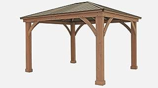 FSC Certified Cedar Wood Aluminum Roof 14' x 12' Outdoor Pavillion Gazebo