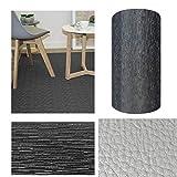 Comercial Candela Alfombra de Pasillo de Textil Resinado Antimanchas, Lavable   Base PVC Antideslizante y Aislante Diseño Lluvia Color (Negro, 52_x_250 CM)