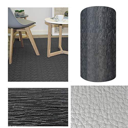Comercial Candela Alfombra de Pasillo de Textil Resinado Antimanchas, Lavable | Base PVC Antideslizante y Aislante Diseño Lluvia Color (Negro, 52_x_100 CM)