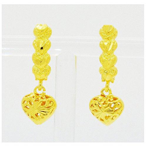 Pendientes colgantes tailandés de 24K amarillo chapado en oro joyas joyería 20mm